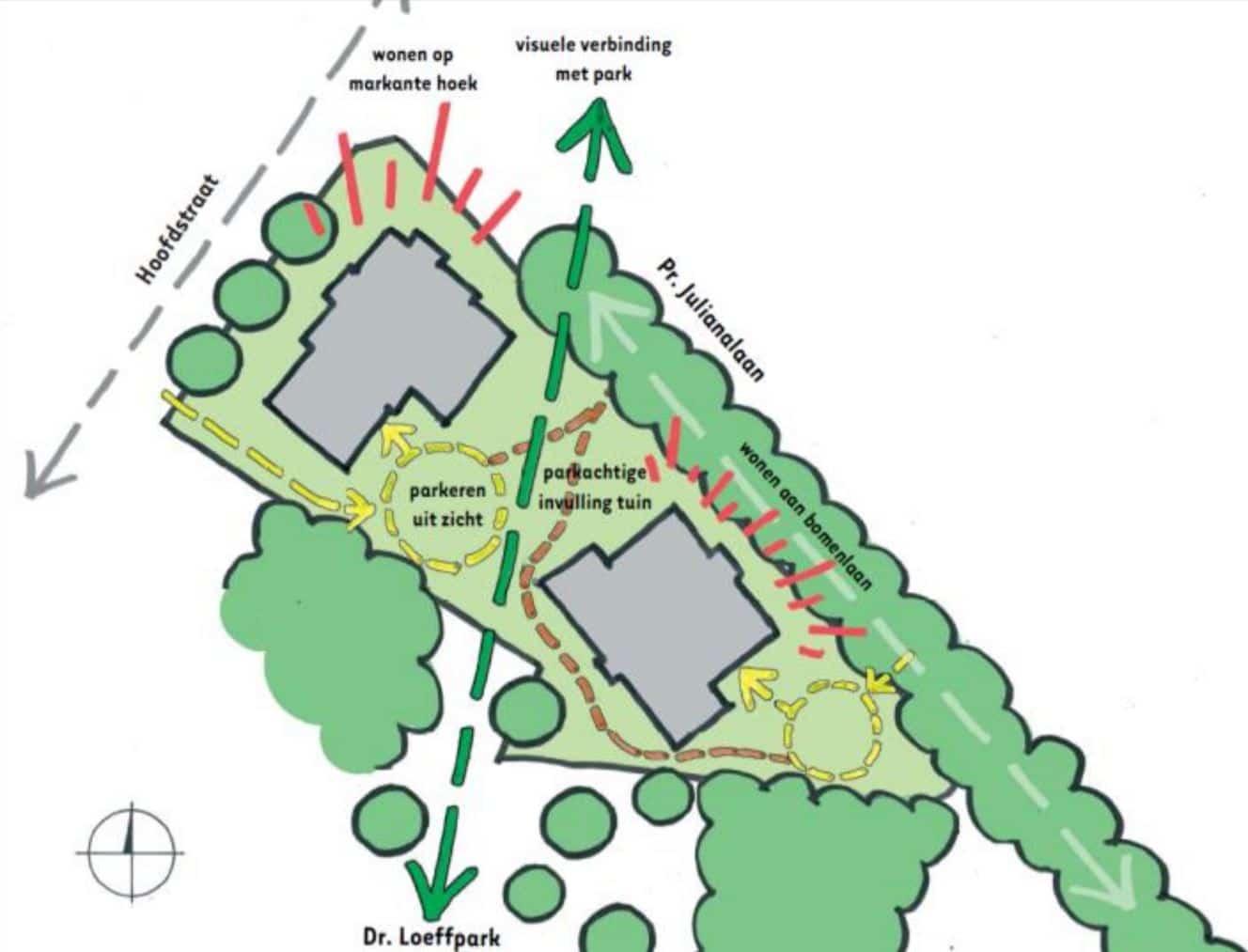 Conceptschets van situatie voor nieuwbouw van appartementengebouw Florin in Epe